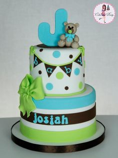 Aqua, Green and Brown Polka Dot, Stripe & Bunting Baby Cake with Teddy Bear Topper (Josiah)
