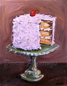 Items similar to Coconut Layer Cake on Stand Artist Print on Etsy – Kunst – Home crafts Cupcake Painting, Food Painting, Painting Flowers, Watercolor Food, Paint And Sip, Painted Cakes, Art Party, Kitchen Art, Food Illustrations