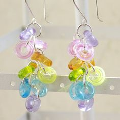 Colorful Glass Earrings - Handmade Lampwork Beads and Sterling Silver. $45.00, via Etsy.