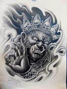 Khmer Tattoo, C Tattoo, God Tattoos, Thai Tattoo, Bernini Sculpture, Nightmare Before Christmas Tattoo, Japanese Mythology, Japan Tattoo, Oriental Tattoo