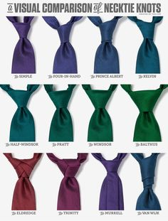 A Visual Comparison of Necktie Knots. that entire last row just weirds me out - i couldn't date a guy who spent that much time crafting his tie :p