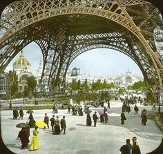 Champ de Mars and Eiffel Tower, Paris, France, 1900. Exposition of 1900. Piers in the Champ de Mars taken under the Eiffel Tower.