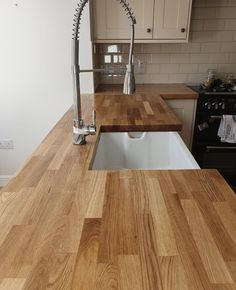 A water damaged worktop sanded back and re oiled. Product used - OSMO TopOil 3058 Clear, Matt.  Project by: @oliverspd (IG)