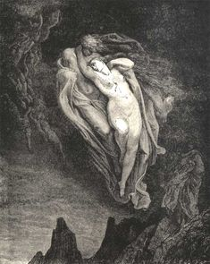Gustave Doré Inferno Canto 5: The Unfortunate Love of Paolo and Francesca