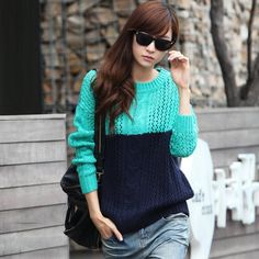 Hstyle Hollowed Two Tone Panel Knitwear Code: 20130043 - Women's Sweater - Women's Clothing at Clothing.net