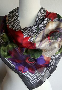 Silk Scarf / ADRIENNE VITTADINI / Large Square 34x35 / Head Scarf / Silk Head Wrap / Driving Scarf / Neck Scarf by BeautyFromThePast on Etsy