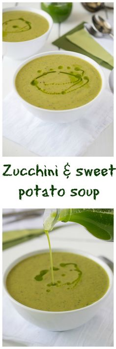 Zucchini & sweet potato soup. A quick and easy soup so full of flavor. Perfect for an easy weeknight meal.