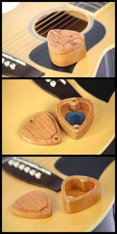 Guitar Pick Box, Pattern G39, Solid Cherrywood, Laser Engraved, Paul Szewc www.etsy.com/shop/PaulSzewc #GuitarStand