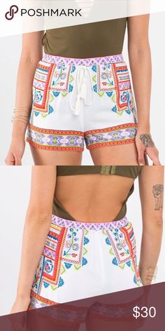 • COMING SOON • White Printed Shorts I love printed bottoms! You can style & pair them with soo many basic tops for a trendy & effortless look. Elastic waist with a self-tie. 100% Rayon  ✖️ No trades / price firm   Please select your size at checkout Shorts
