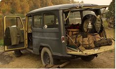 Jeep Steel Wagon used in classic Filson ad Motorcycle Camping, Camping Gear, Camping Style, Backpacking Gear, Willys Wagon, Jeep Willys, Old Jeep, Old Trucks, Vintage Trucks