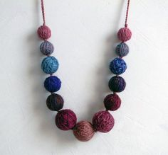 Wool beads necklace, shades of burgundy, dusty pink, smoke blue, brown. Fiber necklace. on Etsy, $54.29
