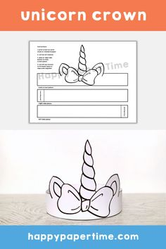 Unicorn paper crown printable. This cute printable paper crown is perfect for a Birthday party or just an afternoon craft with the kids. A great way to entertain any unicorn fan. Check out our other available printable crafts. #unicornparty #unicorn #printablepapercrown #unicorncrown #birthdaycrown #unicorncraft #kidscraft #kidsactivity