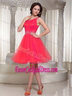 Buy lace up organza fuchsia one shoulder formal evening dress with beading  from coral red evening dresses collection 6581728e1c62