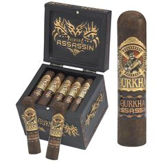 The Gurkha Assassin Dagger is a great addition to the Gurkha line of cigars. Full-flavored, full-bodied, and full of charisma. It all begins with a deep, dark, extra-fermented Brazilian wrapper. Cigars And Whiskey, Good Cigars, Pipes And Cigars, Cigar Art, Cigar Accessories, Cigar Humidor, Cigar Smoking, Liquor, Smoke