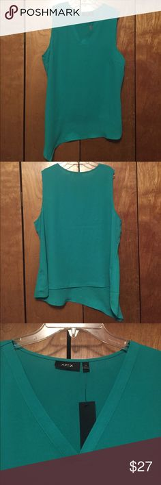 """Apt 9 turquoise V neck asymmetrical top This beautiful turquoise top is from Apt 9. Sleeveless. Asymmetrical hem line. Pairs great with white skirt and sandals.  100% polyester. 23"""" armpit to armpit. 27"""" shoulder to hem on short side.      31"""" shoulder to hem on long side.  PRICE FIRM unless bundled Apt. 9 Tops Tunics"""