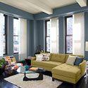 Blue and white modern urban living room.