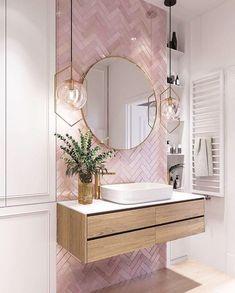 Elegant and luxurious bathroom design ideas for a stylish decor -. - furnishing ideas elegant and luxurious bathroom design ideas for a stylish decor - Pink Bathroom Tiles, Pink Tiles, Diy Bathroom Decor, Bathroom Interior Design, Modern Bathroom, Small Bathroom, Bathroom Organization, White Tiles, Boho Bathroom