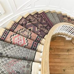 Inspirational  three different kilims used to cover up the stairs