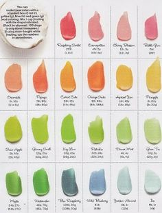A food colour chart to make the most beautiful shades of cupcake icing. i hate mixing colours and almost always get it wrong! This might help!