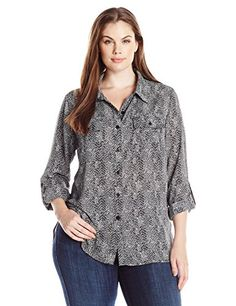 Notations Womens Plus Size Allover Printed Woven Blouse 34 Sleeve Point Collar Hi Low Hem Noir Radio Wave 2X -- Check out the image by visiting the link.Note:It is affiliate link to Amazon.