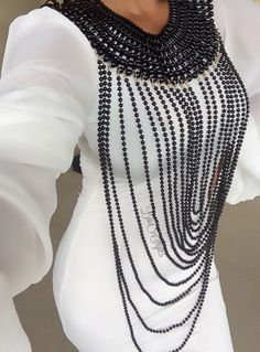 Black Beaded Body Chain I need this African Accessories, African Jewelry, Jewelry Accessories, Fashion Accessories, Body Chain Jewelry, Beaded Jewelry, Jewellery, Body Necklace, Pearl Necklace