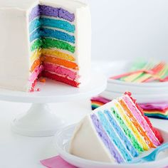 A rainbow cake is fun to look at and eat and a lot easier to make than you might think. Here's a step-by-step guide for how to make a rainbow birthday cake. Rainbow Wedding, Rainbow Birthday, Cake Rainbow, Rainbow Table, Rainbow Sky, Buttercream Wedding Cake, Buttercream Frosting, White Buttercream, White Icing