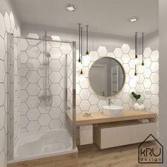 In addition to being a storage solution, bathroom furniture is an inseparable part of the integral design of this room. Bathroom Red, Bathroom Wallpaper, Small Bathroom, Hexagon Tile Bathroom, Bathroom Ideas, Handicap Bathroom, Bathroom Stall, Bathroom Mirrors, Wall Mirror