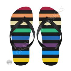 e81fcfd56e76e8 Rainbow Stripes with Black Flip Flops by  Gravityx9 at  Artsadd   summer  footwear