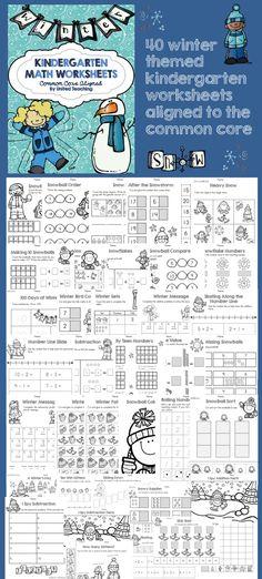 Kindergarten Common Core Aligned Winter Math Worksheets