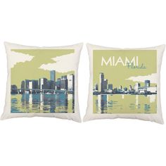 Miami Pillows -Vintage Travel Poster Style Florida Pillow Covers with/without Cushion Inserts, Travel Pillow, Miami Beach, Beach House Decor