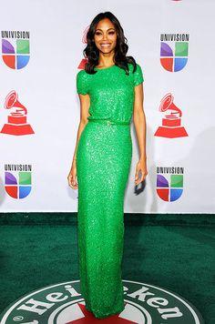Zoe Saldana in Elie Saab at 2011 Latin Grammy Awards.