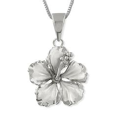 """Sterling Silver 17mm Hibiscus Pendant Necklace, 16+2"""" Ext..."""