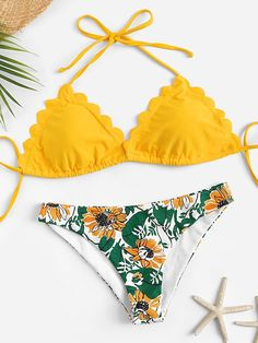 bac7d88d183e Shop Scallop Trim Halter Top With Plants Print Bikini Set online. SHEIN  offers Scallop Trim Halter Top With Plants Print Bikini Set & more to fit  your ...