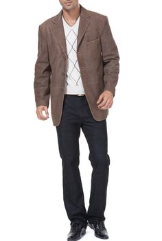 a087404d4c1 BGSD Men s Vintage Three-Button Cowhide Leather Blazer. Check out this  great style for