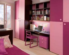 Like the layout more than the color.  Beds head/head on one side and wardrobe/study on other. Sweet Pinky Girls Room Design with Study Desk: Sweet Pinky Girl's Room Design with Study Desk