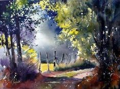Jean Claude Papeix I Watercolor Watercolor Landscape Paintings, Watercolor Trees, Watercolor Artists, Watercolor Techniques, Landscape Art, Pinterest Arte, Tree Art, Beautiful Paintings, Art Photography