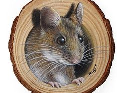 A Sweet Mouse Coming Out from Its Lair, a Unique Wood Slice Painting by Roberto Rizzo! Original Art 100% Hand Painted!