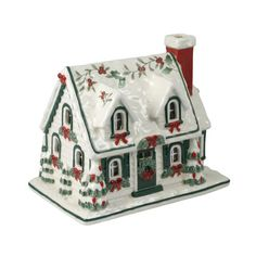 Pfaltzgraff® Winterberry Village House With Green Trim And LED Light