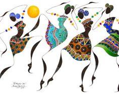 "African Dancers, BIKUTSI III 12""x18""(30,5cm X 45,5cm )Giclée Print, African Woman Art, African Ethnic, African Fashion Art, African Gift"