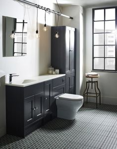 Mononchrome chic bathroom scheme: Create a contemporary classic scheme with traditionally styled furniture and contrasting neutrals. How to decorate? Team grey furniture with neutral walls and eye-catching geometric flooring. Industrial-chic accessories will complete the look. Find more ideas at housebeautiful.co.uk