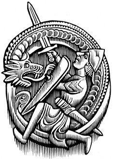 Legend of Sigurd and Gudrun illustration Dragon Killing Norse Tattoo, Celtic Tattoos, Viking Tattoos, Norse Pagan, Norse Mythology, Viking Designs, Celtic Designs, Nordic Vikings, Viking Culture