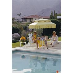 """Slim Aarons """"Nelda And Friends"""" Print by Getty Images Gallery - Variety of Sizes Available from The Well Appointed House Hotel Safe, Desert Homes, Mellow Yellow, Lake Tahoe, Photographic Prints, Palm Springs, Decoration, Miami, House Design"""
