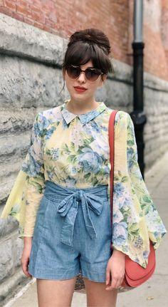 Floral top + chambray shorts