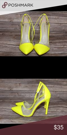 Neon yellow patent leather pumps Neon yellow with Transparent sides and straps around the ankles. Brand new never worn Shoes Heels