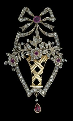 Antique Ruby and Diamond Flower Basket