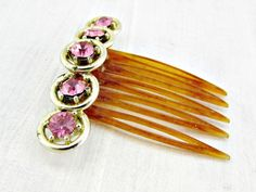 Vintage Pink Rhinestone Hair Comb, Gold Circle Hair Comb, Pink Crystal Hair Comb, Wedding Bridal Hair Comb, 1950s Fashions Hair Accessories by RedGarnetVintage
