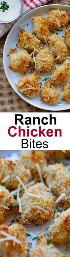Ranch Chicken Bites – easy chicken nuggets recipe with ranch dressing, panko and Parmesan cheese. Homemade, crispy, moist and so good!