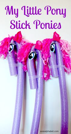 Make your own My Little Pony Inspired Stick Ponies using pool noodles and other inexpensive materials.  Makes a great party activity or favor.  Click through for a step by step tutorial.