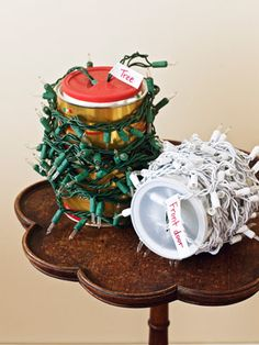 Christmas storage: You can also try winding unwieldy strings of lights around coffee cans. Cut an X in the plastic top, and stick the plug through. Label each string with masking tape and a marker to remind you which lights go on the tree and which go around the door.