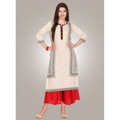 Cotton Fabric Straight Style Readymade Kurtis in Off White Kurtis Online India, Kurta Style, Online Shopping For Women, Anarkali Suits, Festival Wear, Long Tops, Daily Wear, Suits For Women, Designer Dresses